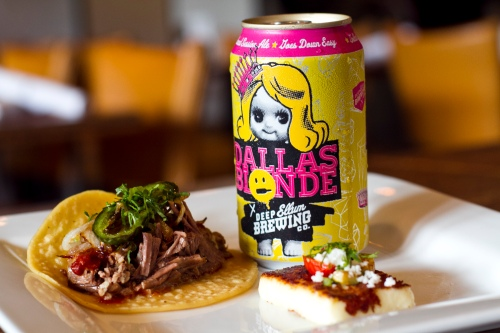Double Brown Stout six hour braised barbacoa taco topped with cebollitas and jalapenos asados, cilantro and salsa roja paired with Dallas Blonde Ale (1)