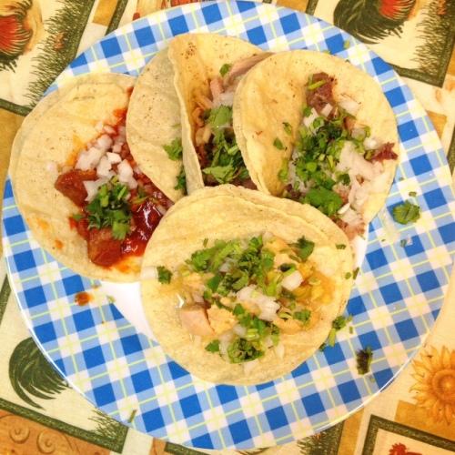 A taco plate at Taqueria Las Marias.
