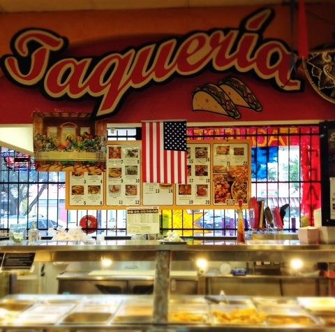 Taqueria Las Marias' counter.
