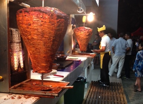 Tacos al pastor stand in Mexico City. Photo: Markus Pineyro.