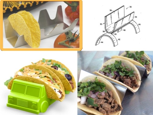Clockwise from top left: Taco Rack, Prutt's taco holder, Classic Tacos, Taco Truck taco holder.